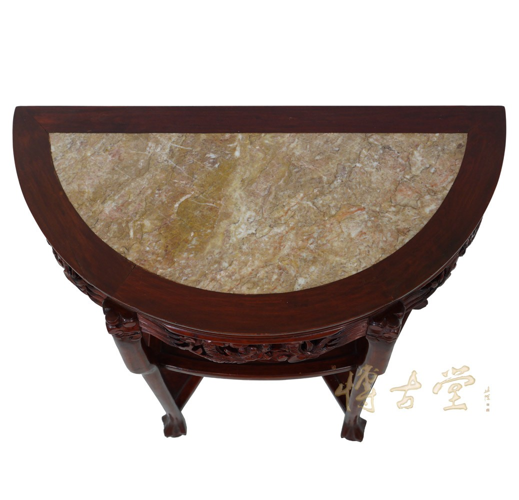 Chinese Antique Rosewood Half Moon Table With Marble Top