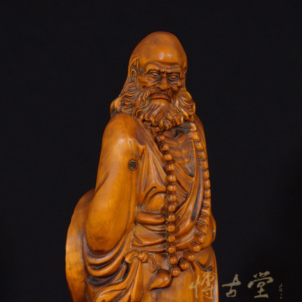 Chinese Antique Carved Boxwood Buddha Statuary Da Mo