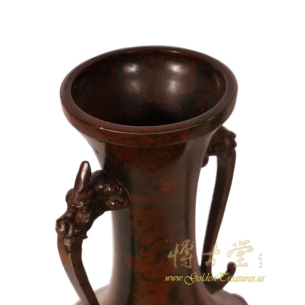 Chinese Antique Carved 19 Century Bronze Vase 16lp37