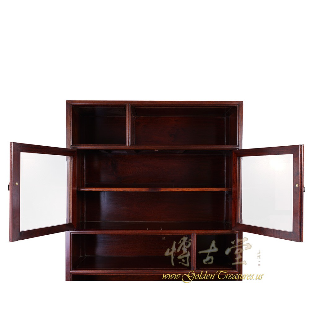Chinese Antique Rosewood Book Cabinet With Glass Door