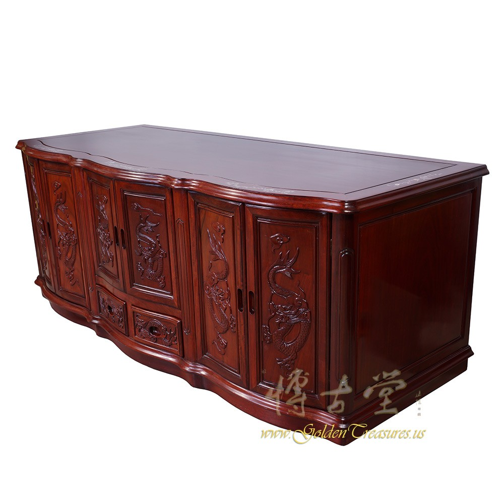 Vintage Chinese Carved Rosewood Mop Inlay Entertainment