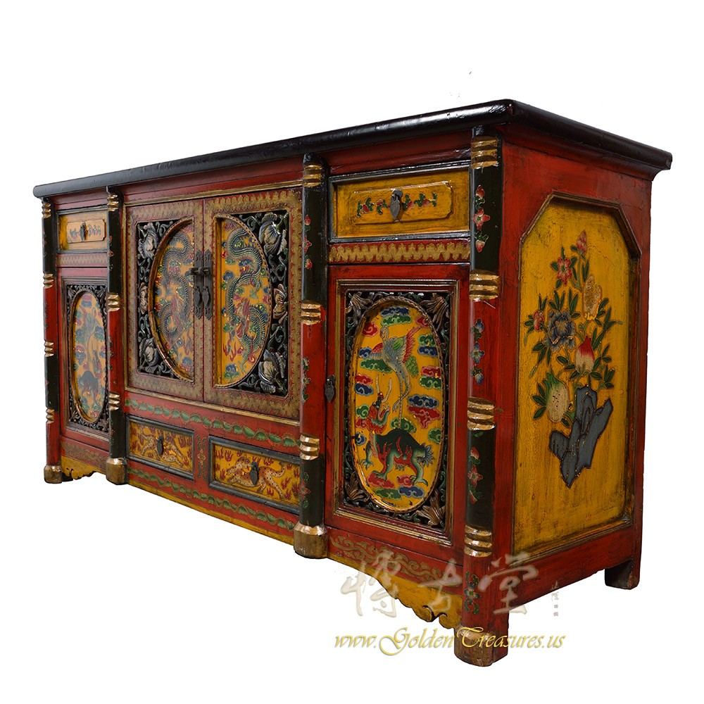 Tibetan Antique Colorful Hand Painted Buffet Table