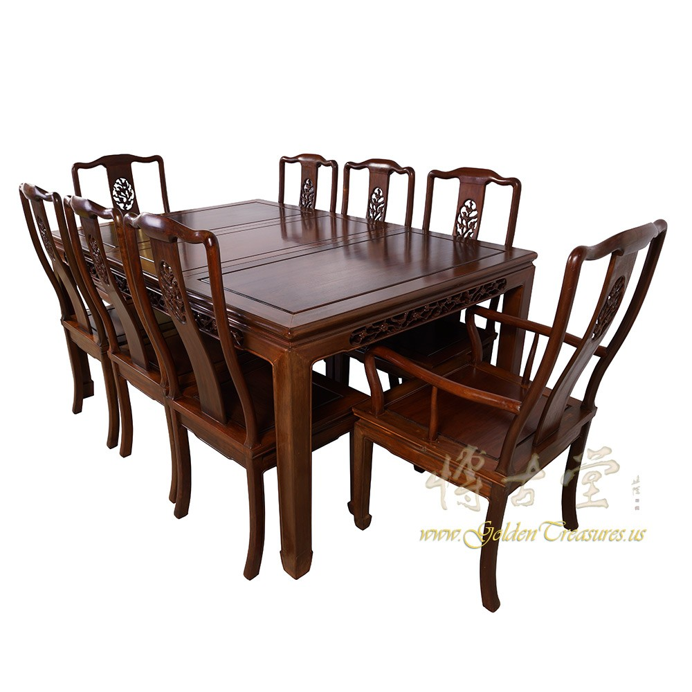 Chinese Antique Rosewood Dining Table W 8 Chairs Set