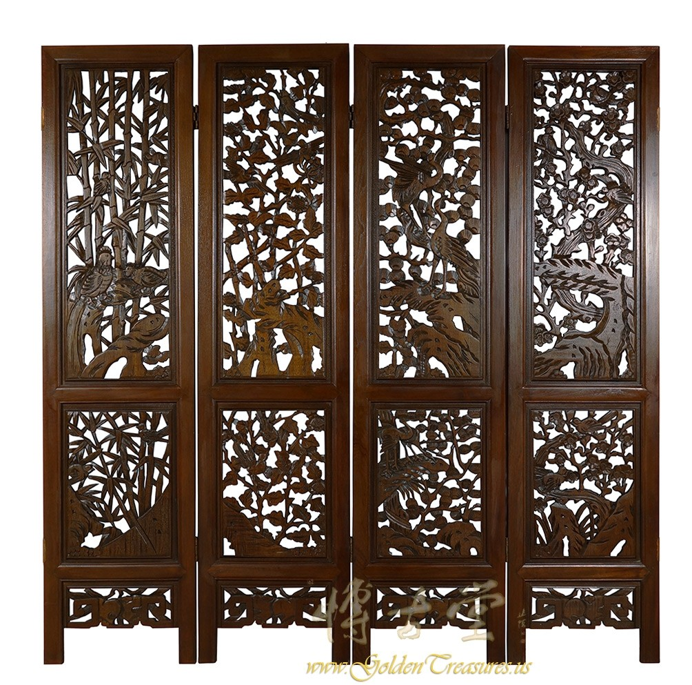 Chinese Antique Carved Teak Wood Panels