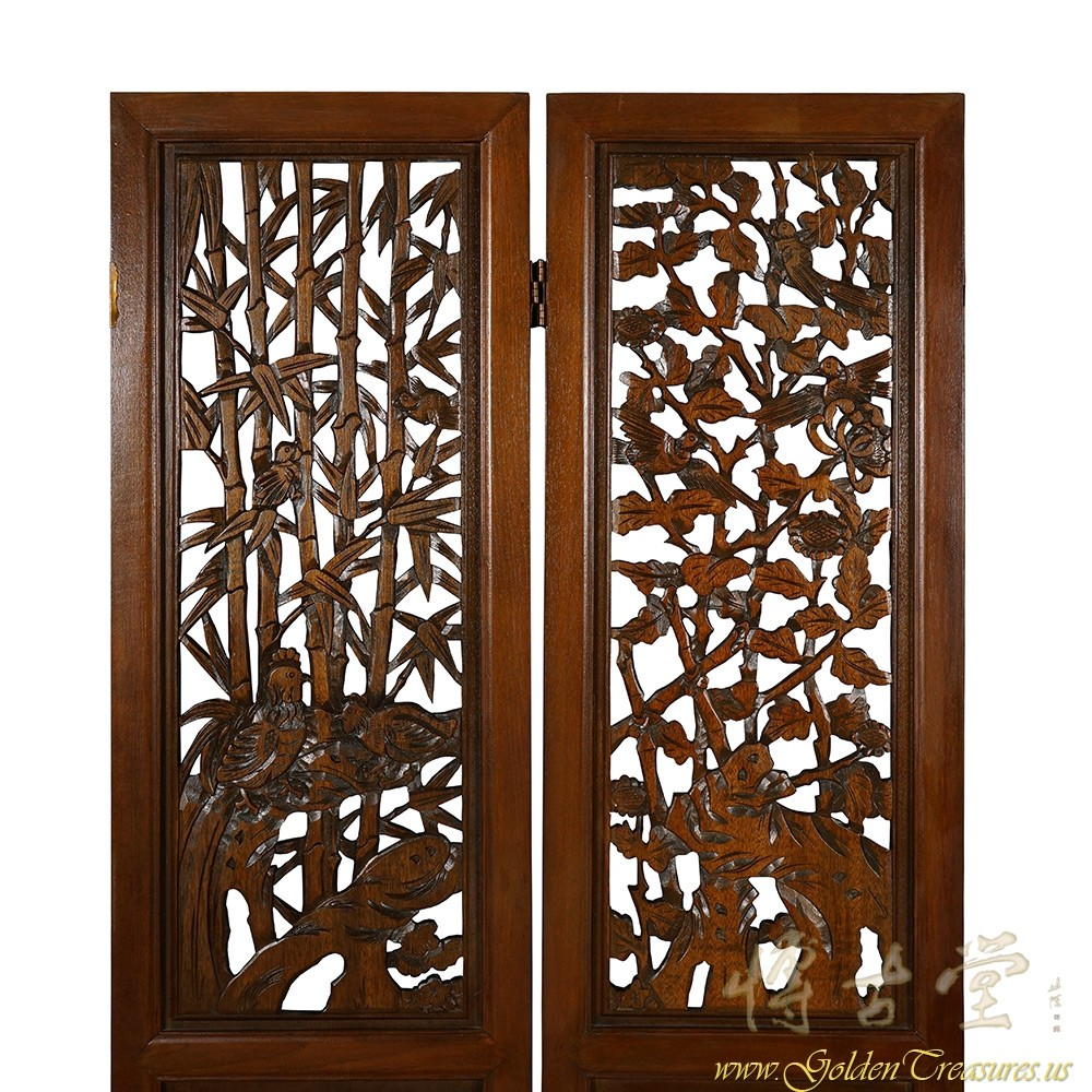 Chinese Antique Carved Teak Wood Panels Screen Room