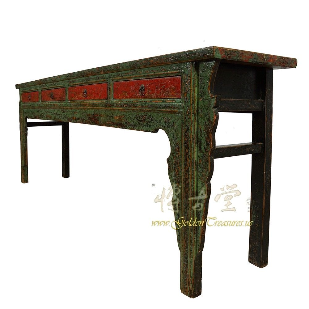 Antique Chinese 4 Drawers Painted Long Sofa Table Console