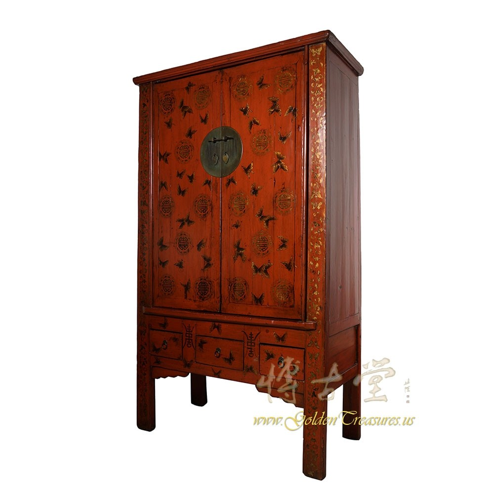 Antique Chinese Red Lacquered Butterfly Armoire, Wardrobe ...