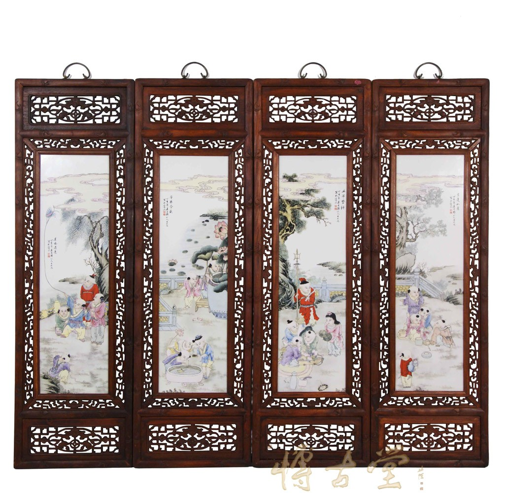 Chinese Antique Painted Porcelain Panels Wall Hanging