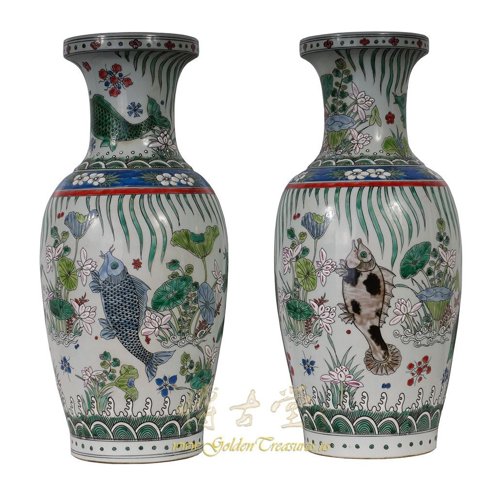 Chinese antique porcelain koi fish vase pair 27xh01 for Koi fish vase