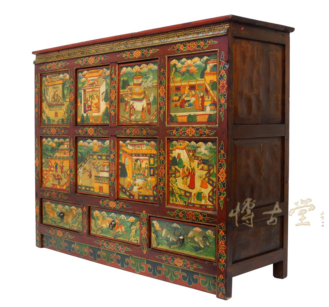 Tibetan Antique Colorful Hand Painted Cabinet Dresser