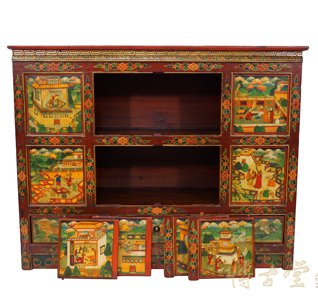 Tibetan Antique Colorful Hand Painted Cabinet Dresser