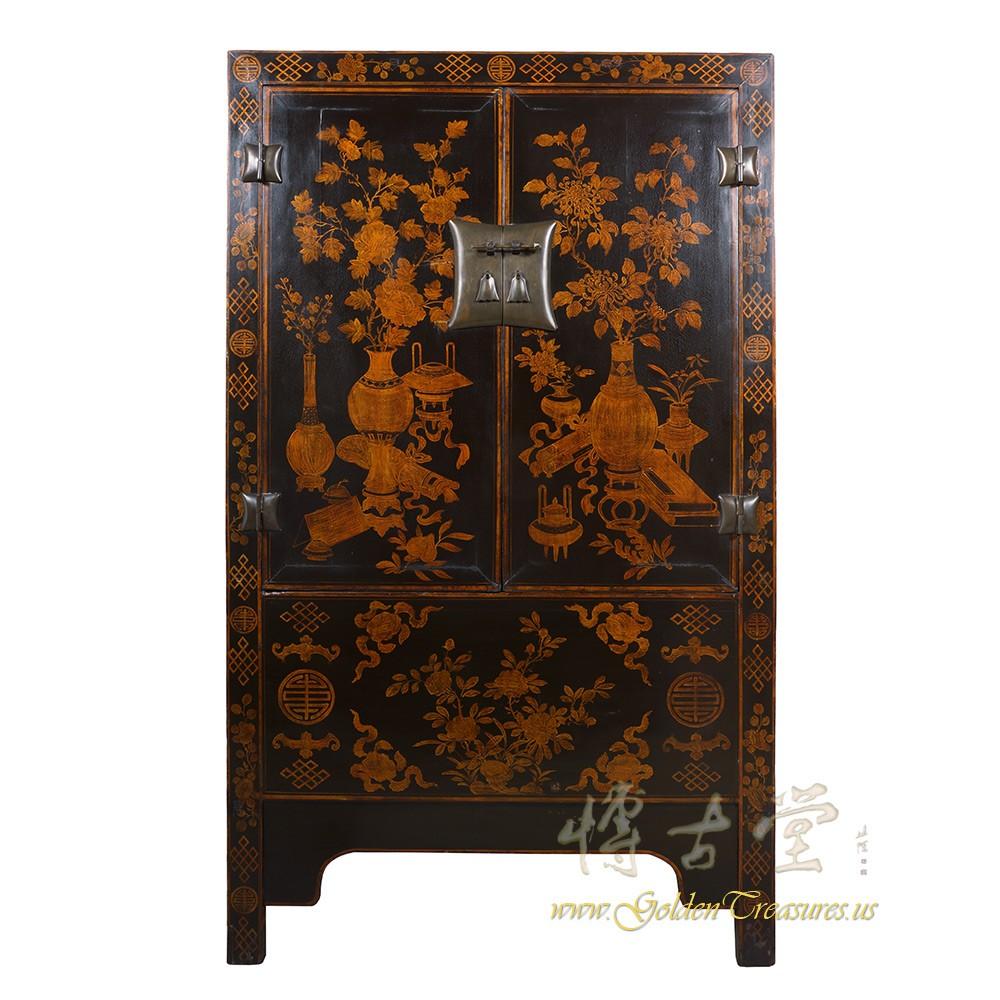 Chinese Antique Gilt Black Wardrobe/TV Armoire 18S18
