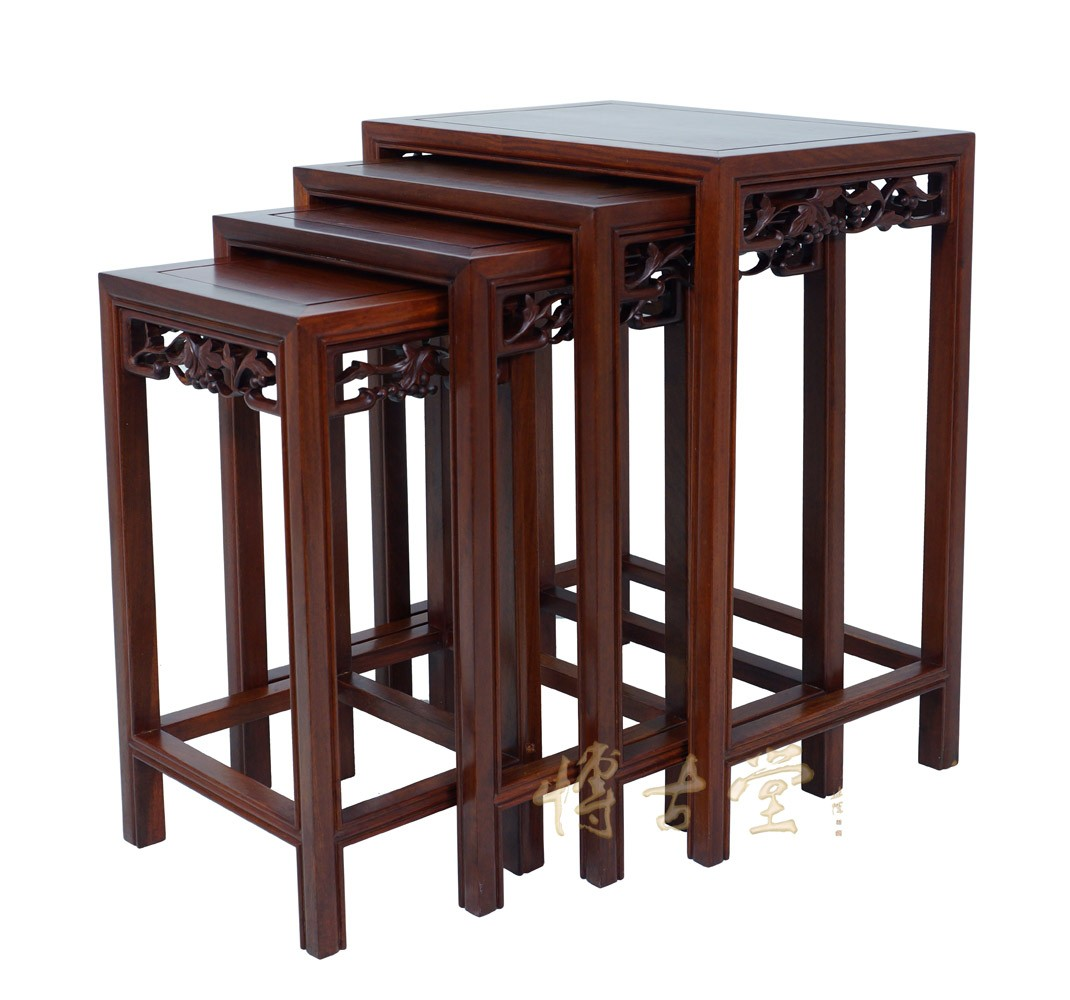 Chinese Antique Carved Rosewood Nesting Table Set 14LP49 Chinese Antiques