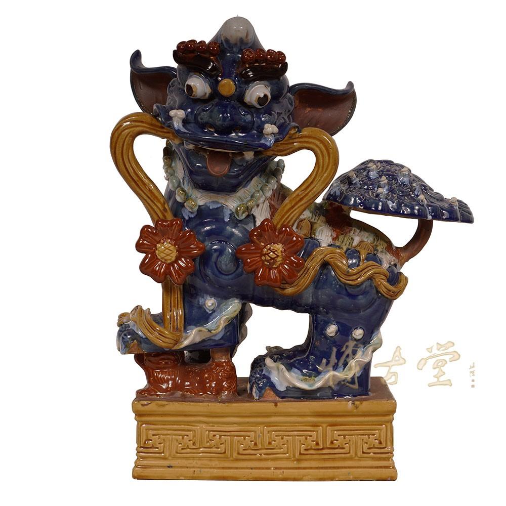Chinese Antique Colored Glaze Ceramic Foo Dog 15LP49
