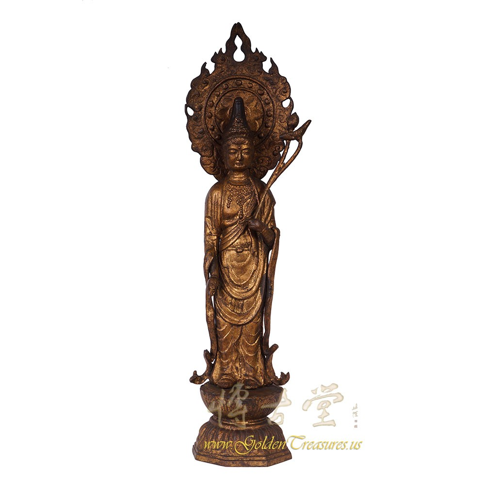 Asian Antique 18 Century Cast Iron Buddha Statuary 16LP38