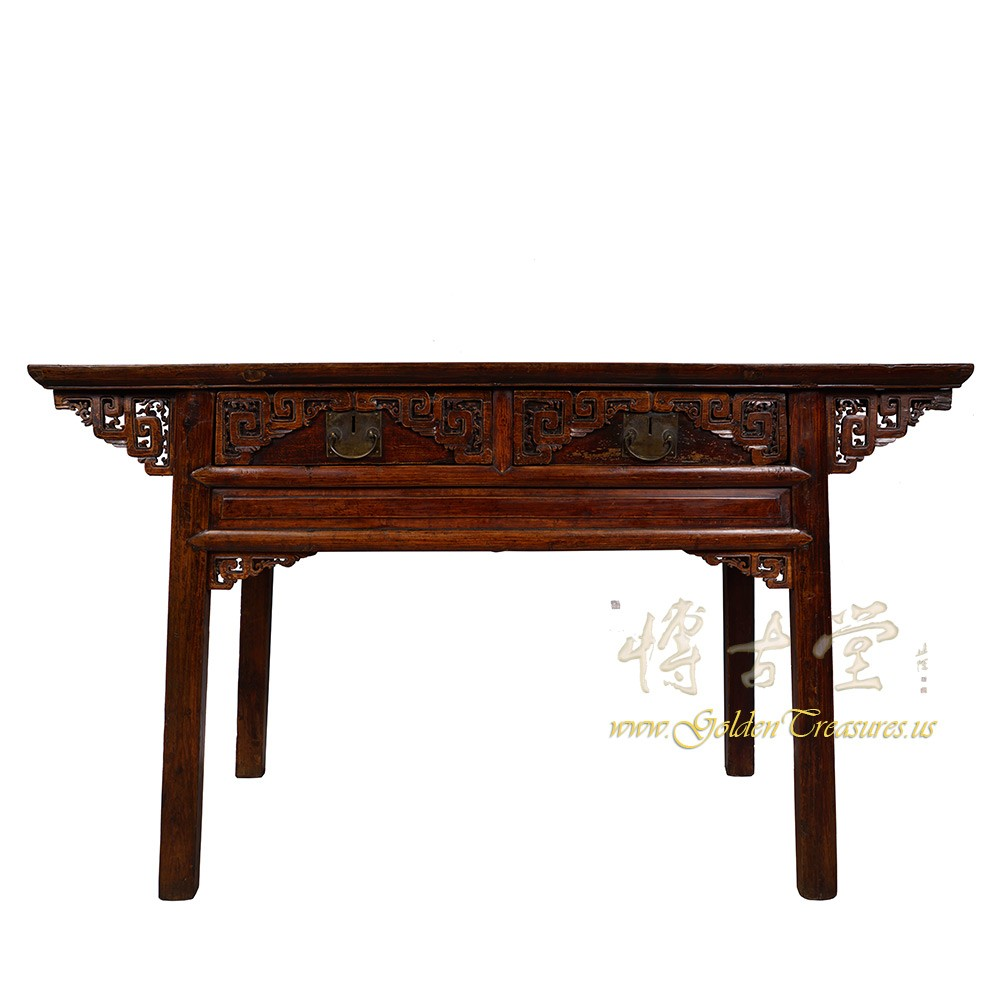 Chinese antique carved zhejiang writing desk console table