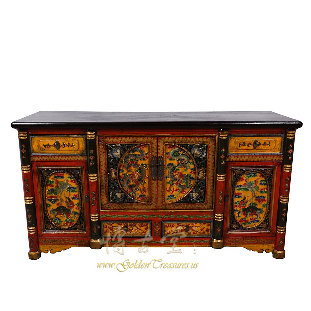 Tibetan Antique Colorful Hand Painted Buffet Table/Sideboard 17LP26