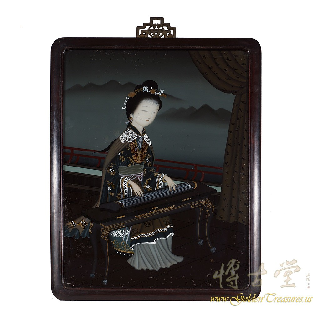 Chinese Antique Portrait Reverse Painting on Glass - girl playing GuZheng 17LP30