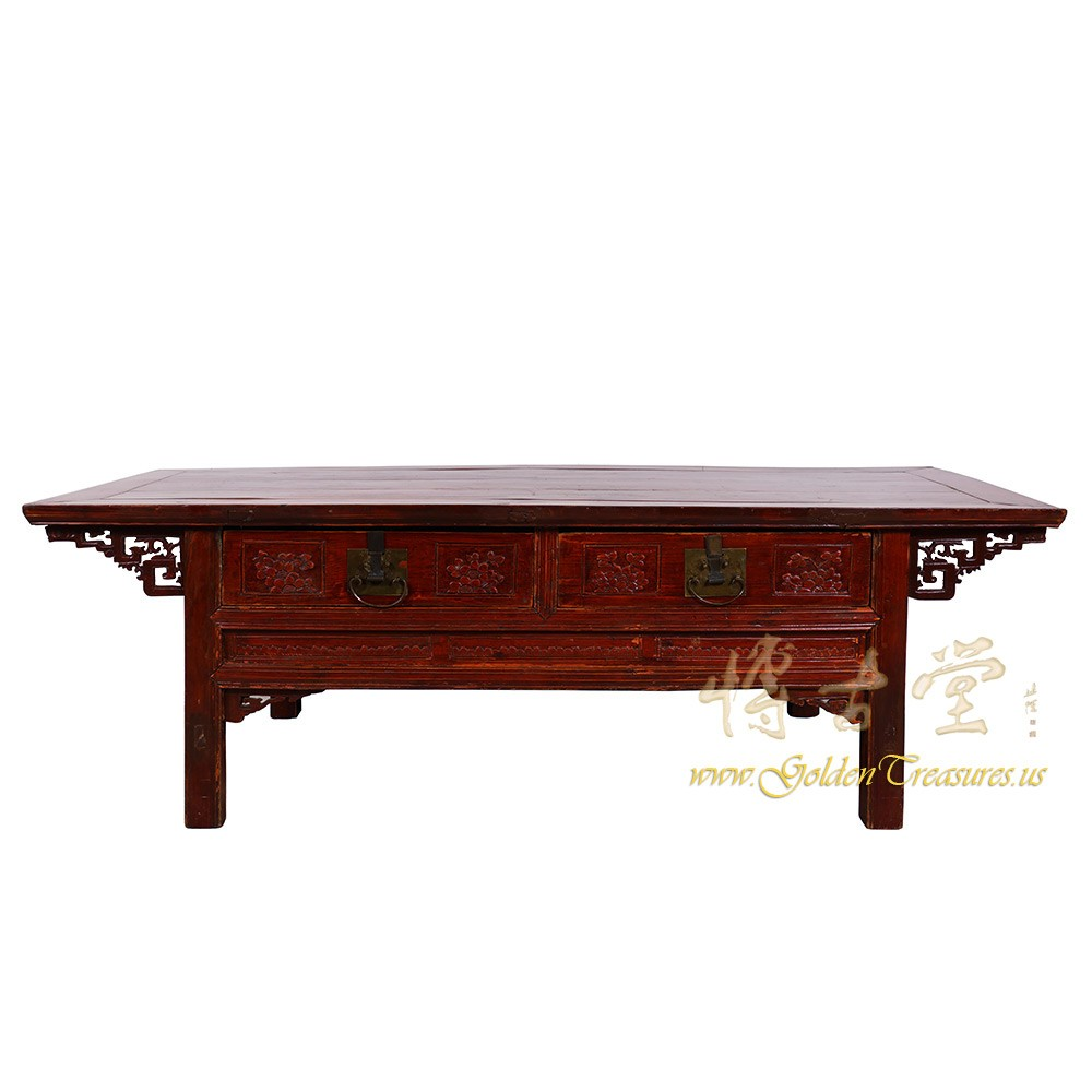 Antique Chinese Coffee Tables: Chinese Antique Carved Zhejiang Coffee Table/TV Stand