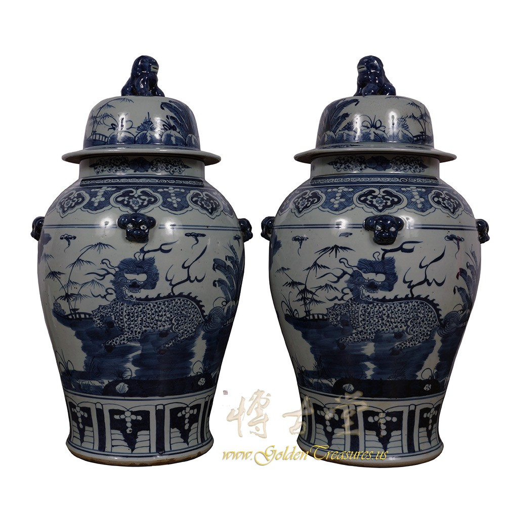 Chinese Antique Blue and White Porcelain Ginger Jar - Pair 17LP51