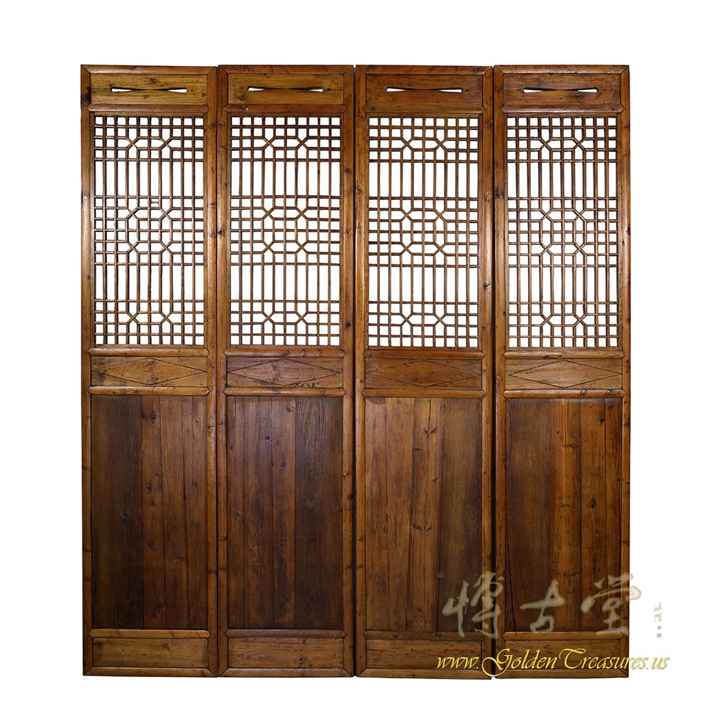 Chinese Antique Carved Wooden Panel Screen Room Divider