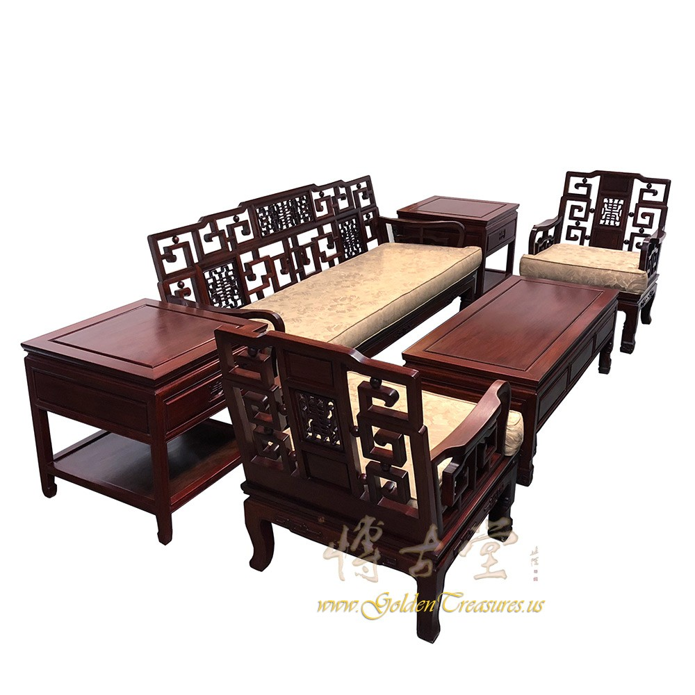 Chinese Antique Carved Rosewood Living Room Sofa And Coffee Table Set  17LP76 Chinese Antiques