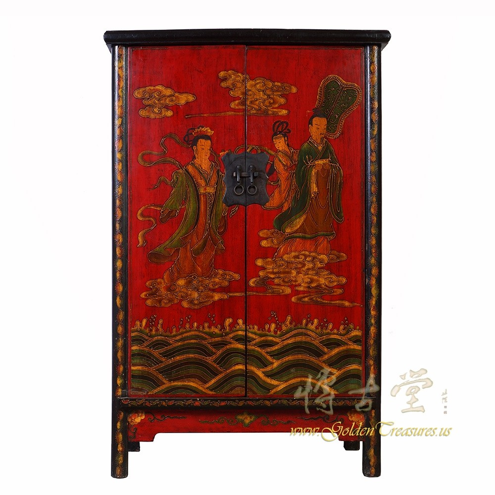 - Chinese Antique ShaanXi Painted Cabinet/Wardrobe 18LP25 Chinese Antiques