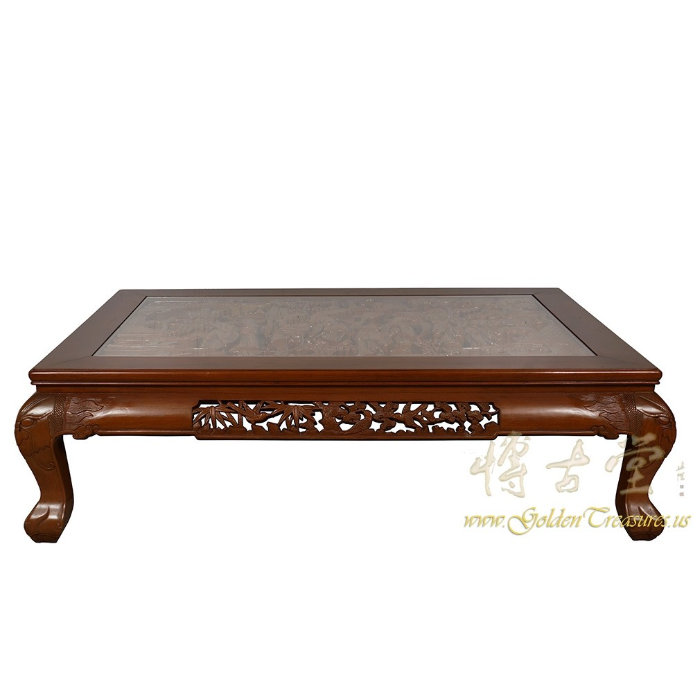 Vintage Chinese Rosewood Massive Carved Coffee Table