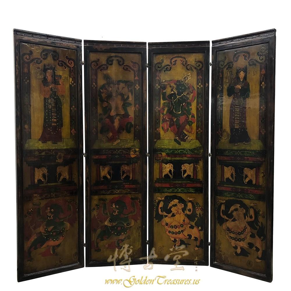 Antique Tibetan Painted Wooden Panel screenRoom Divider 18LP56