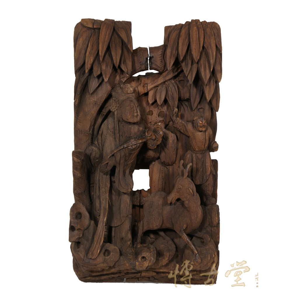 Chinese Antique 3D wood carving panel 22P07