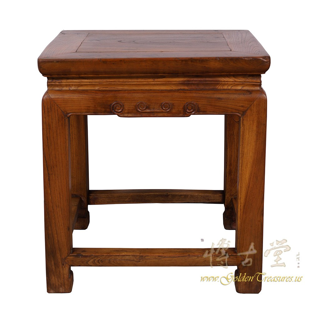 Chinese Antique Carved Meditation Stool/End Table 24P07