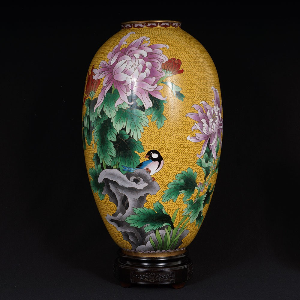 Chinese Antique Cloisonne Vase 25X28 Antiques