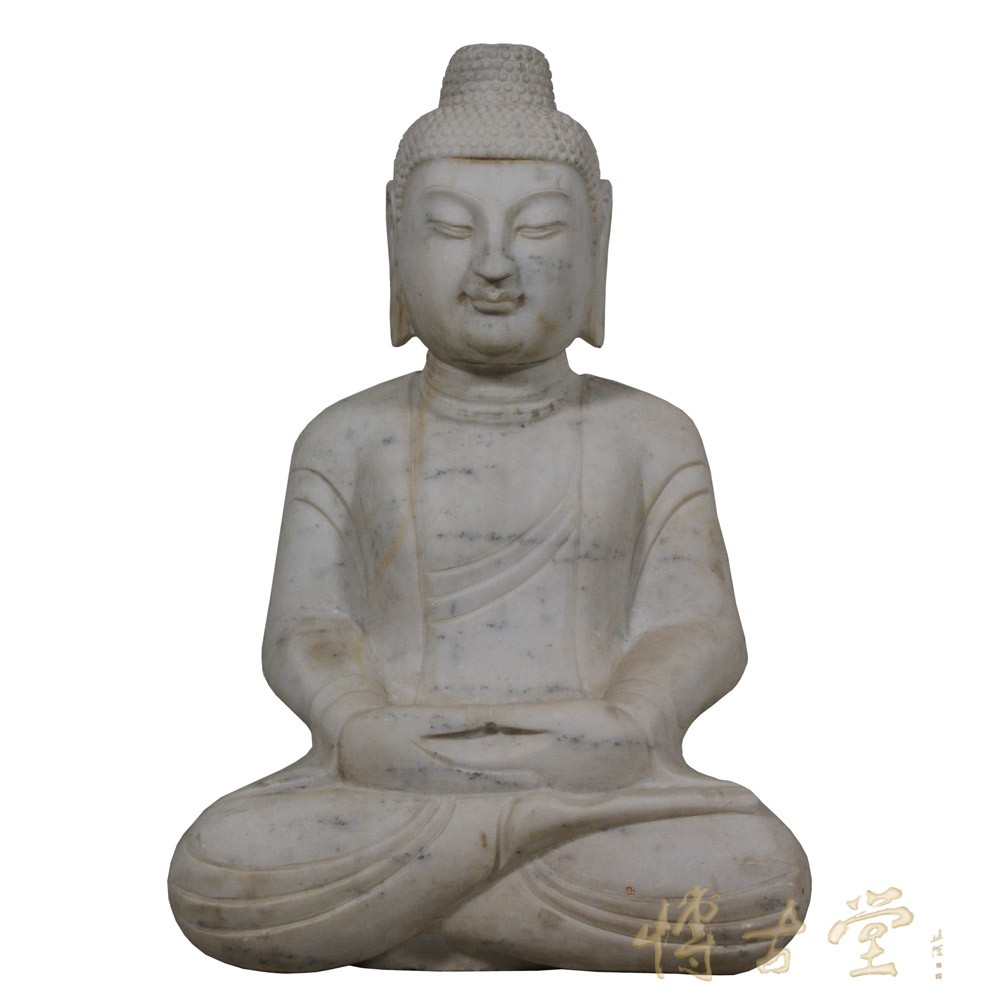 Chinese Carved Stone Meditation Buddha Statuary 25X99