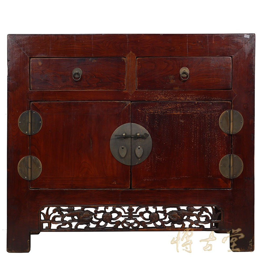 Chinese Antique Carved 2 Drawers Cabinet/Side Table 28B05