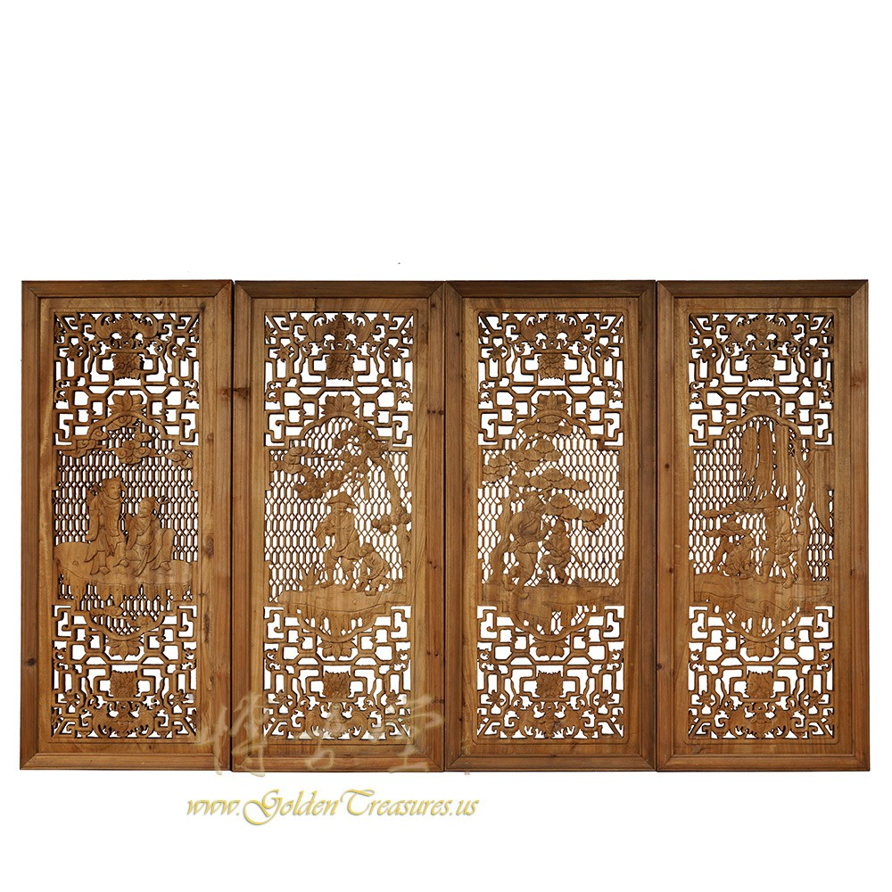 Chinese Antique Open Carved Interior Window Panels Wall