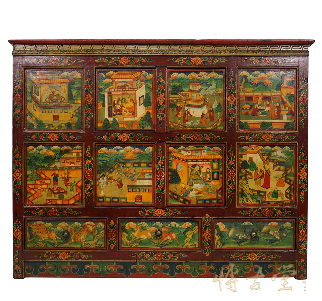 Tibetan Antique Colorful Hand Painted Cabinet/Dresser 28M08 Chinese Antiques