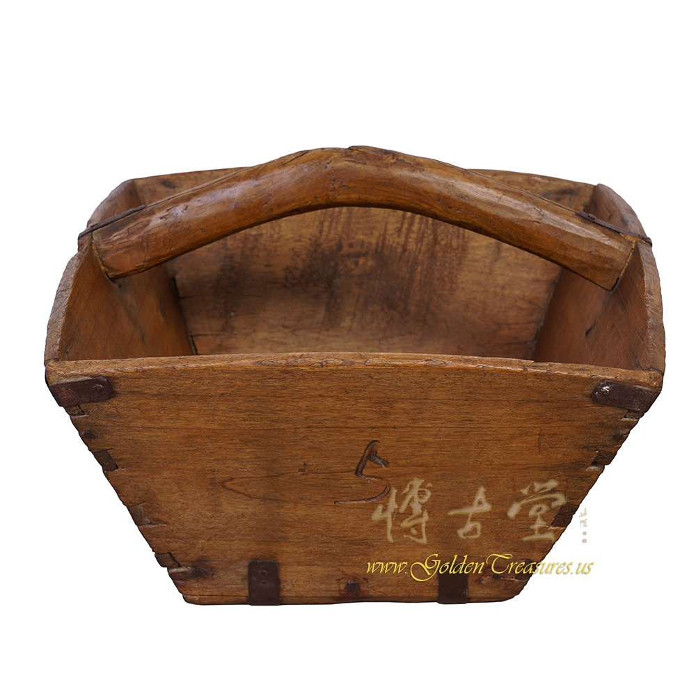 Chinese Antique Official Wooden Rice Grain Basket Dou 28P13A