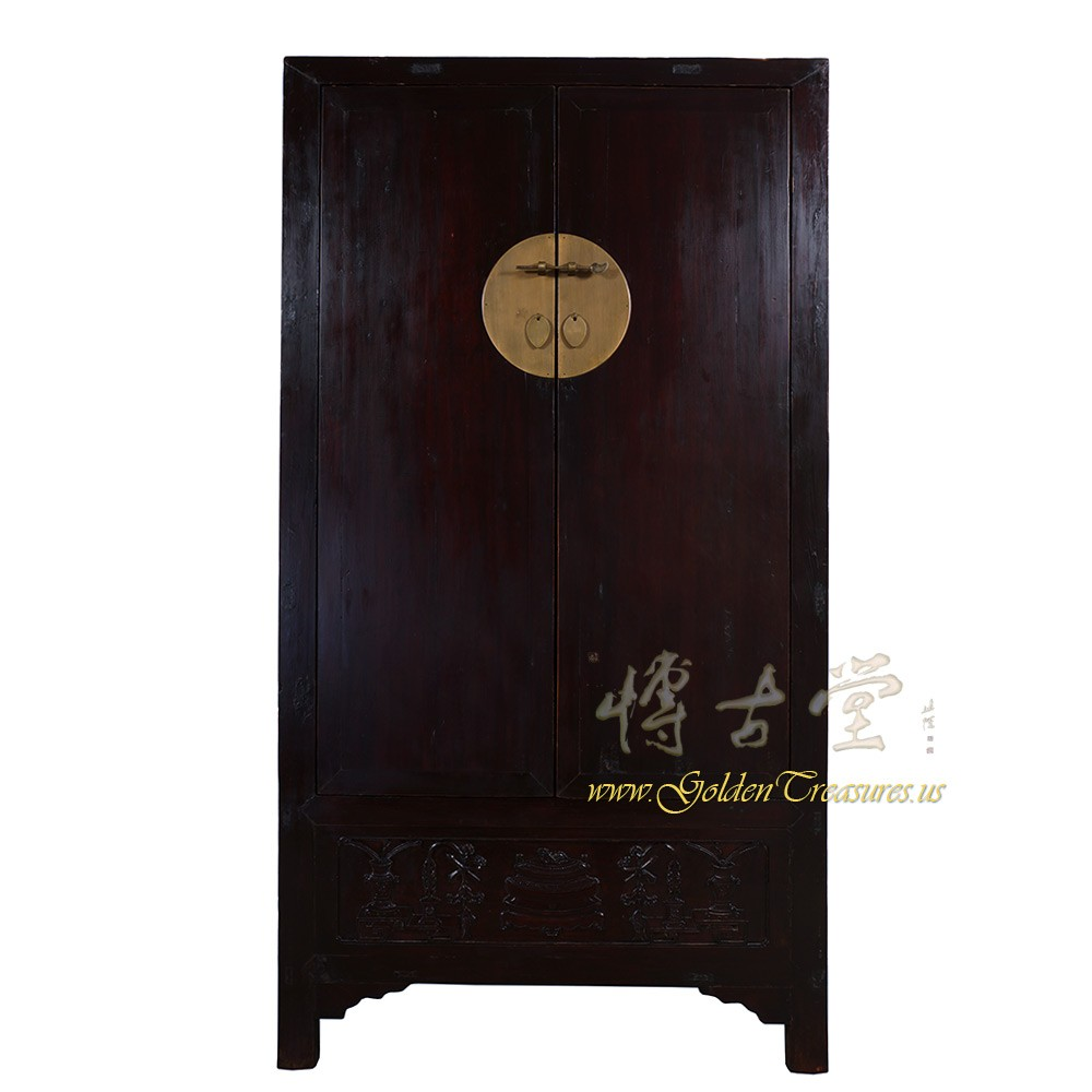 Huge Chinese Antique Carved Shan Dong Armoire/Wardrobe 28T01