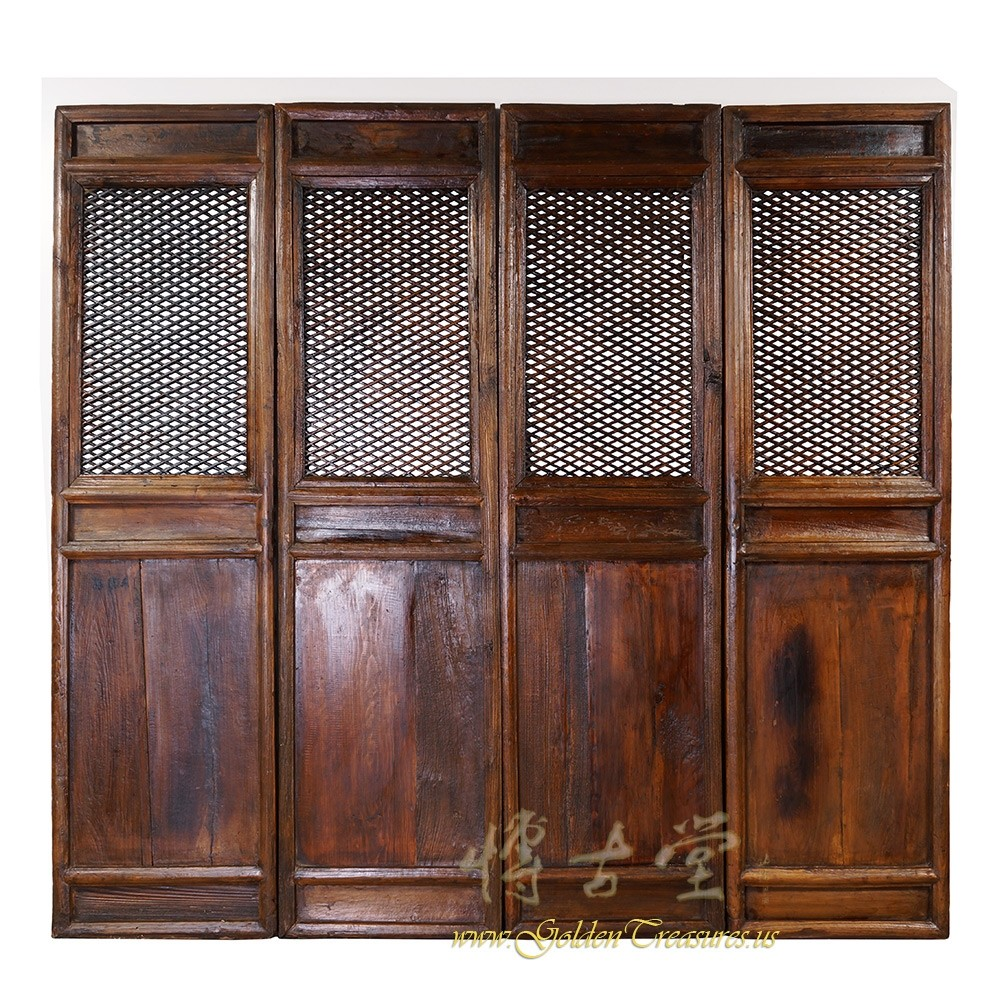 Chinese Antique Carved Wooden Panel ScreenRoom Divider 28S03