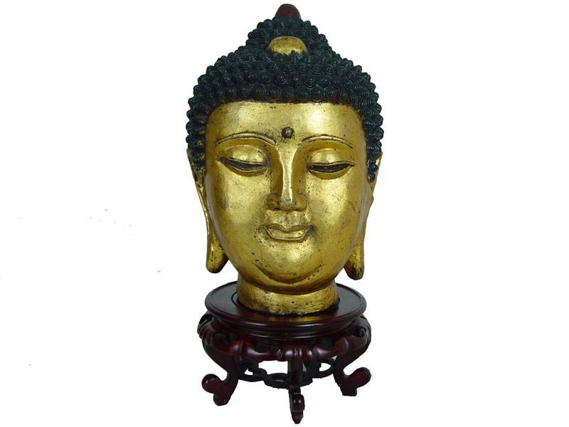 Chinese Antique Gilt Metal Buddha Head