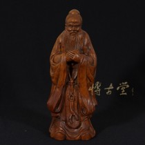 Chinese Antique Wood Carved Confucius Statuary 15XB02