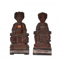 Antique Chinese Emperor and Empress Wooden Statues 15XB04