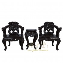 Chinese Antique Pair of Raise Carved Dragon Chairs w/Table 16LP40