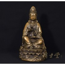 Chinese Antique Carved Bronze Kwan Yin Statuary 16X03