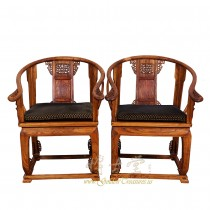 Chinese Antique Horseshoe Back Armchairs - Pair 17LP47