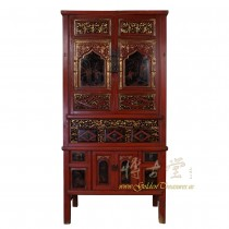 Chinese Antique Carved Gilt Red Fujiang Armoire 17LP54