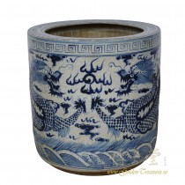 Chinese Vintage Blue and White porcelain Dragon Scroll Pot