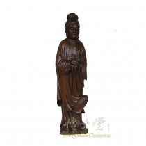 Chinese Antique Wood Carved Kwan Yin Statuary 18LP07