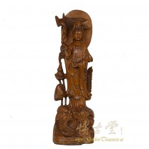 Chinese Antique Wood Carved Kwan Yin Statuary 25X31