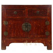 Chinese Antique Red Lacquered Shan Xi Cabinet/Side Table 27B01